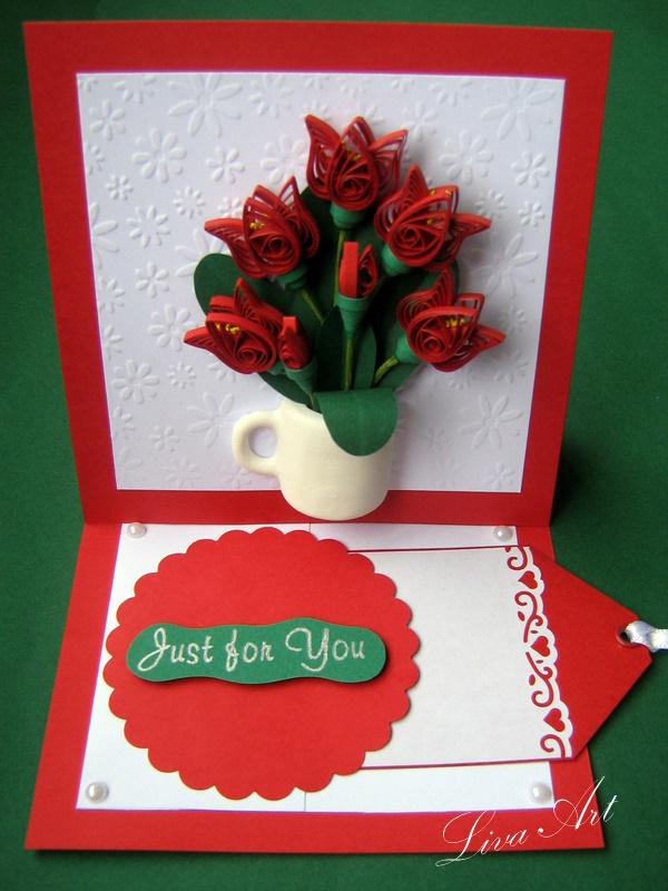 Красной надписью, как сделать из бумаги открытку на 8 марта для мамы